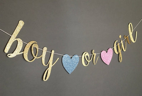 boy or girl gold gender reveal banner decoration