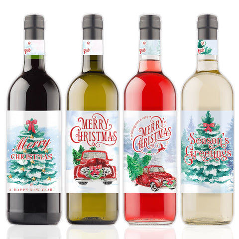 vintage red truck christmas party wine labels