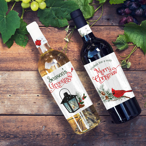 red cardinal christmas party wine bottle label idea