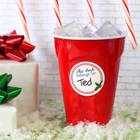 Christmas Drink Name Tag Round Stickers