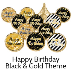 Happy Birthday Party Favors Black Gold
