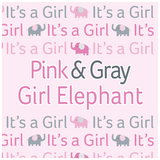 Pink Gray Elephant Girl Baby Shower