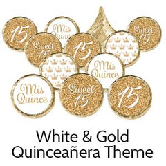 Quinceanera birthday party favors white gold