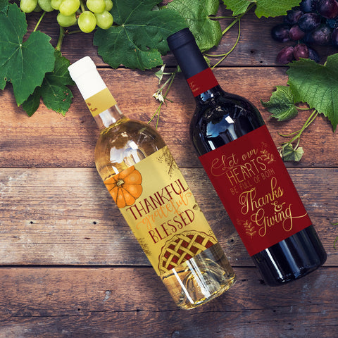 Thanksgiving Wine Bottle Labels