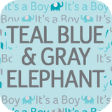 Teal Blue and Gray Elephant Collection