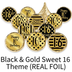 black and gold sweet 16 party favors