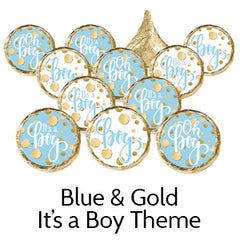 blue and gold baby shower favors