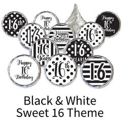 black and white sweet 16 party favors
