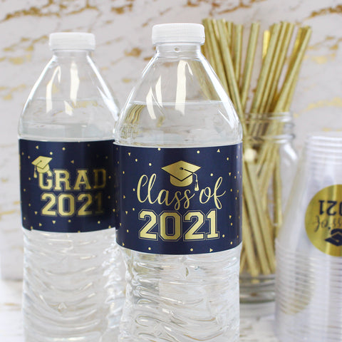 Blue & Gold Water Bottle Labels