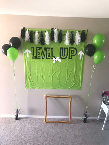 level up birthday party photo booth