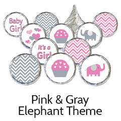 pink gray elephant baby shower favors
