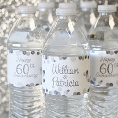 Personalized Silver 60th wedding Anniversary Water Bottle Stickers