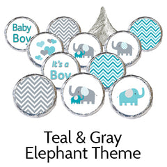 teal gray elephant baby shower favors
