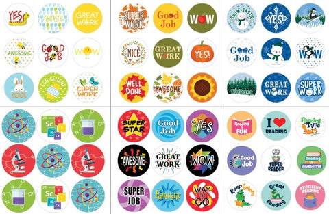 themed teacher reward stickers for students