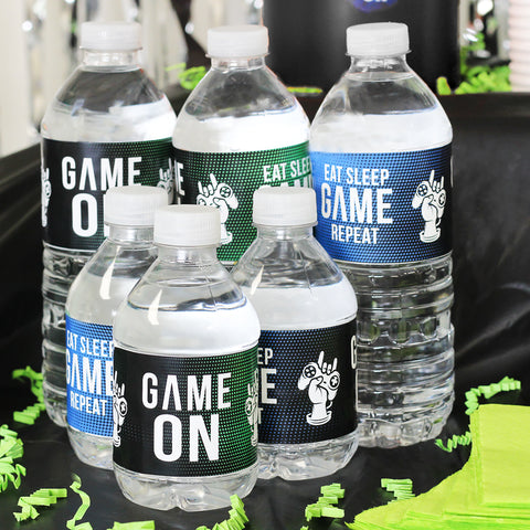 video game boy birthday party water bottle labels