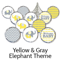 yellow gray elephant baby shower favors