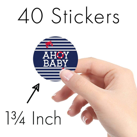 Ahoy It's a Boy Baby Shower Round Labels - 40 Count