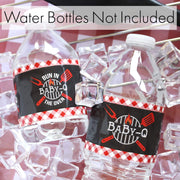 Baby-Q Baby Shower Gender Reveal Party Water Bottle Labels - 24 Stickers