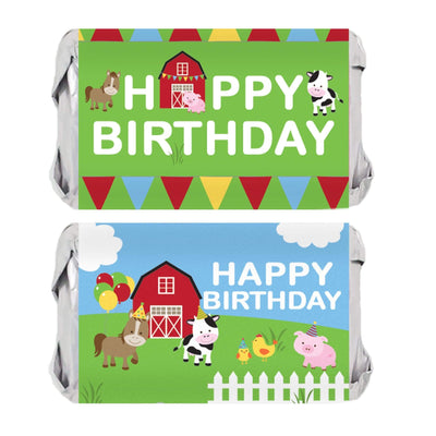 Barnyard Farm Animals Birthday Mini Candy Bar Labels - 45 Stickers