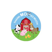 Barnyard Farm Animals Birthday Thank You Stickers - 40 Labels