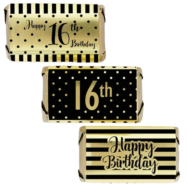Black and Gold 16th Birthday Metallic Foil Mini Candy Bar Stickers - 45 Count