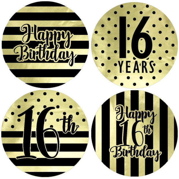 Black and Gold 16th Birthday Metallic Foil Party Circle Labels - 40 Count