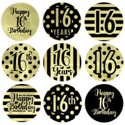 Black and Gold 16th Birthday Metallic Foil Party Favor Stickers - 180 Count