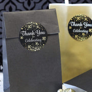 Black and Gold 30th Birthday Thank You Stickers - 40 Labels