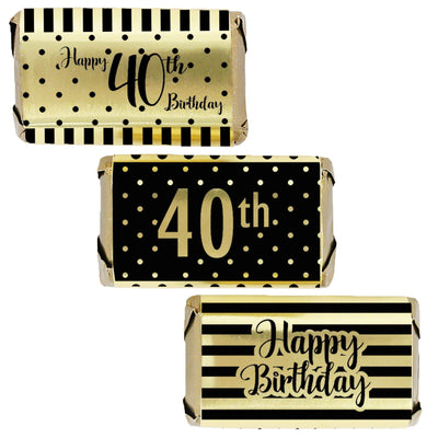 Black and Gold 40th Birthday Metallic Foil Mini Candy Bar Stickers - 45 Count