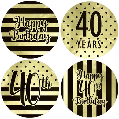 Black and Gold 40th Birthday Metallic Foil Party Circle Labels - 40 Count