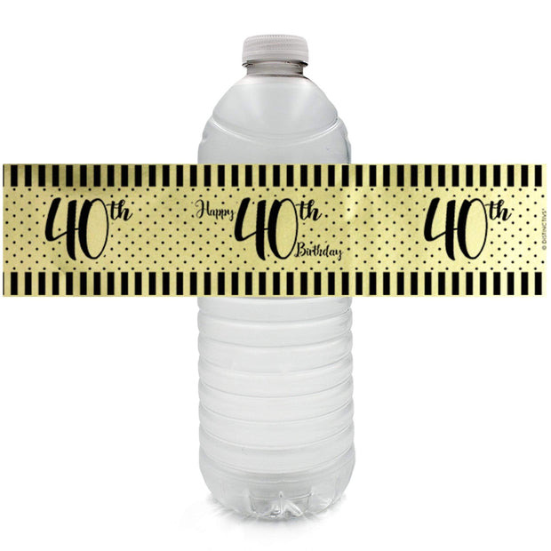 Black and Gold 40th Birthday Shiny Foil Water Bottle Labels, 24 Count