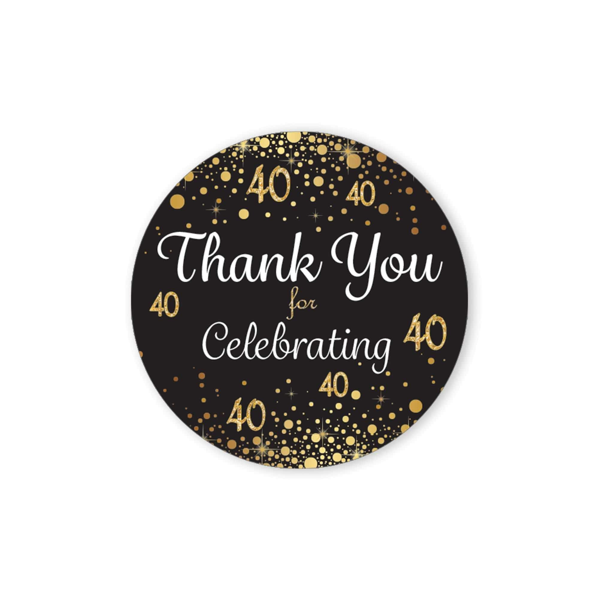 15 FORTY stickers 40th Anniversary gold envelope seal vinyl decals for DIY birthday glasses tumblers 40th birthday invitation seal