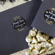 Black and Gold 40th Birthday Thank You Stickers - 40 Labels