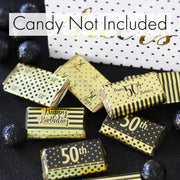 Black and Gold 50th Birthday Metallic Foil Mini Candy Bar Stickers - 45 Count