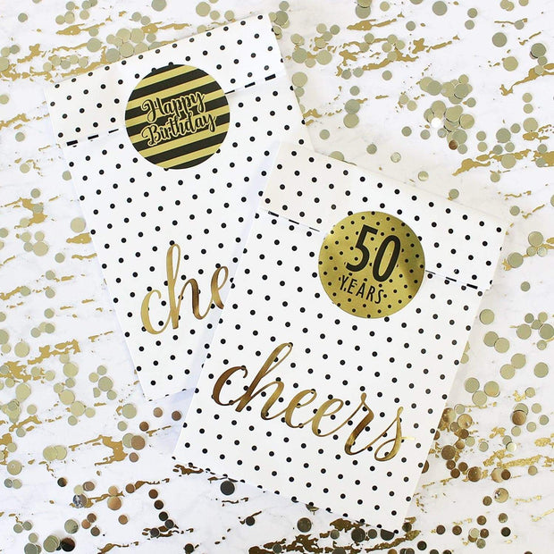 Black and Gold 50th Birthday Metallic Foil Party Circle Labels - 40 Count