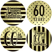 Black and Gold 60th Birthday Metallic Foil Party Circle Labels - 40 Count