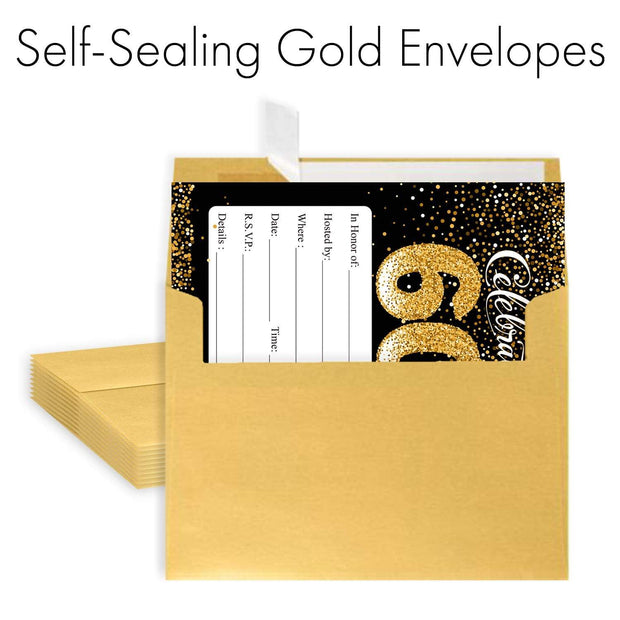 Black and Gold 60th Birthday Party Invitation Cards with Envelopes - 10 Count