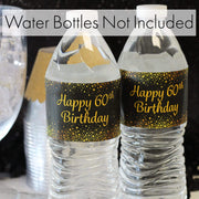 Black and Gold 60th Birthday Party Water Bottle Labels, 24 Count