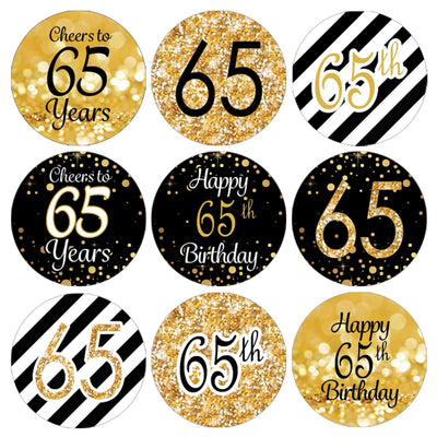 Black and Gold 65th Birthday Party Favor Stickers - 180 Count