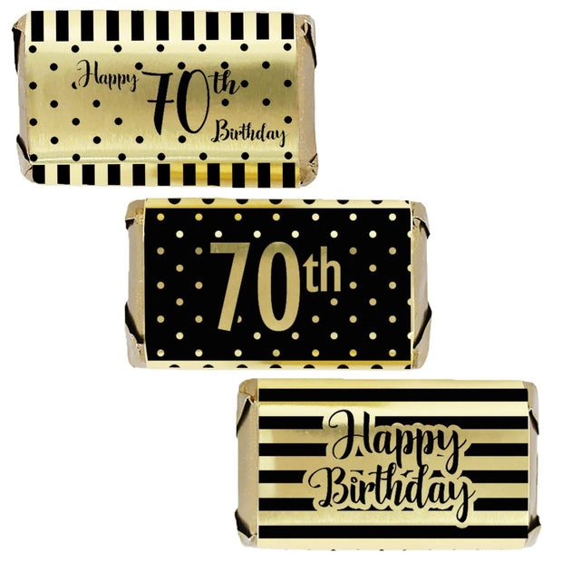 Black and Gold 70th Birthday Metallic Foil Mini Candy Bar Stickers - 45 Count