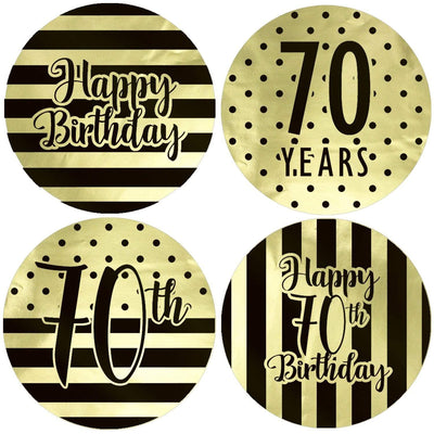 Black and Gold 70th Birthday Metallic Foil Party Circle Labels - 40 Count