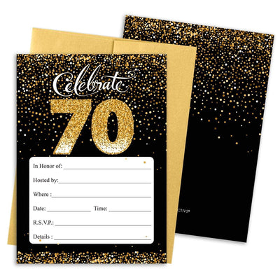 Black and Gold 70th Birthday Party Invitation Cards with Envelopes - 10 Count