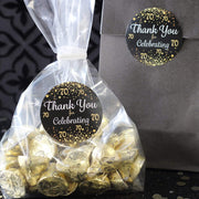 Black and Gold 70th Birthday Thank You Stickers - 40 Labels