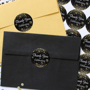 Black and Gold 75th Birthday Thank You Stickers - 40 Labels