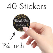 Black and Gold 80th Birthday Thank You Stickers - 40 Labels