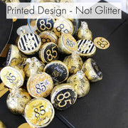 Black and Gold 85th Birthday Party Favor Stickers - 180 Count