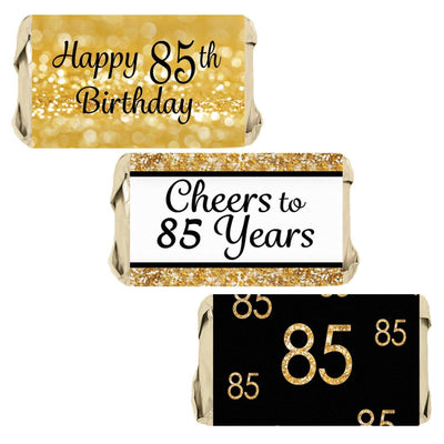 Black and Gold 85th Birthday Party Favors Mini Candy Bar Stickers - 45 Count