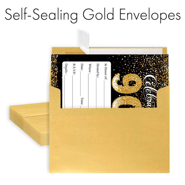 Black and Gold 90th Birthday Party Invitation Cards with Envelopes - 10 Count
