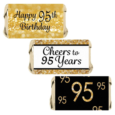 Black and Gold 95th Birthday Party Favors Mini Candy Bar Stickers - 45 Count
