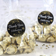 Black and Gold 95th Birthday Thank You Stickers - 40 Labels
